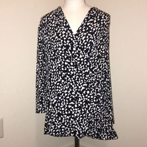 Chaus Brand Black, blue and cream blouse